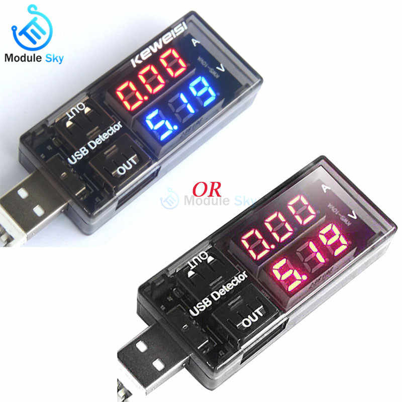 Red+Blue/Red+Red Dual USB Current Voltage Charging Detector Tester Battery Voltmeter Ammeter Charger Doctor