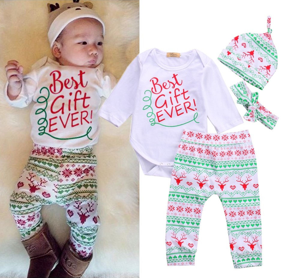 79999eb3b 4PCS Baby Boy Girl Christmas Gift Outfits Romper Deer Pants Legging Clothes  Set newborn baby clothes baby clothing set 2016-in Clothing Sets from  Mother ...