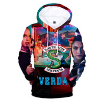 RIVERDALE Archie Andrews Betty Cooper Serpents 3D Colorful Pullover HIP HOP Hoodie Hooded Sweatshirt Halloween Cosplay Costumes