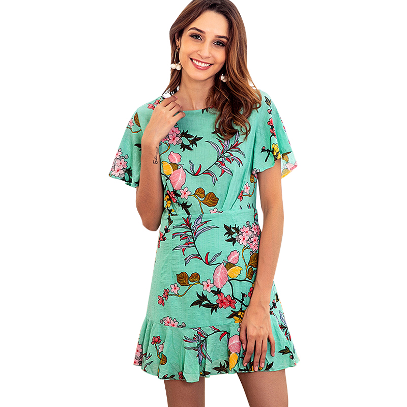 2019 New Women Mini Dress Floral Print Short Sleeve Summer