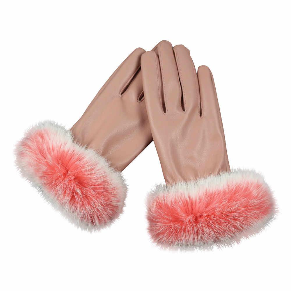 ファッション女性秋冬暖かいウサギの毛皮の手袋ミトン屋外暖かい販売アイテム HX0212