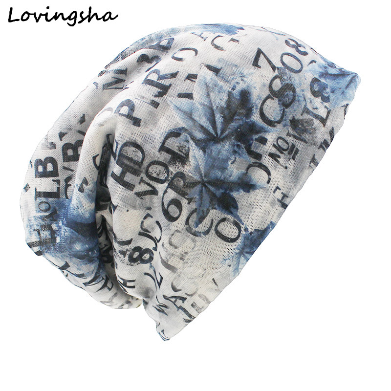 LOVINGSHA Brand Autumn And Winter Dual-use Hats For Ladies thin Letter Design   Skullies   And   Beanies   Women Scarf Face Mask HT008