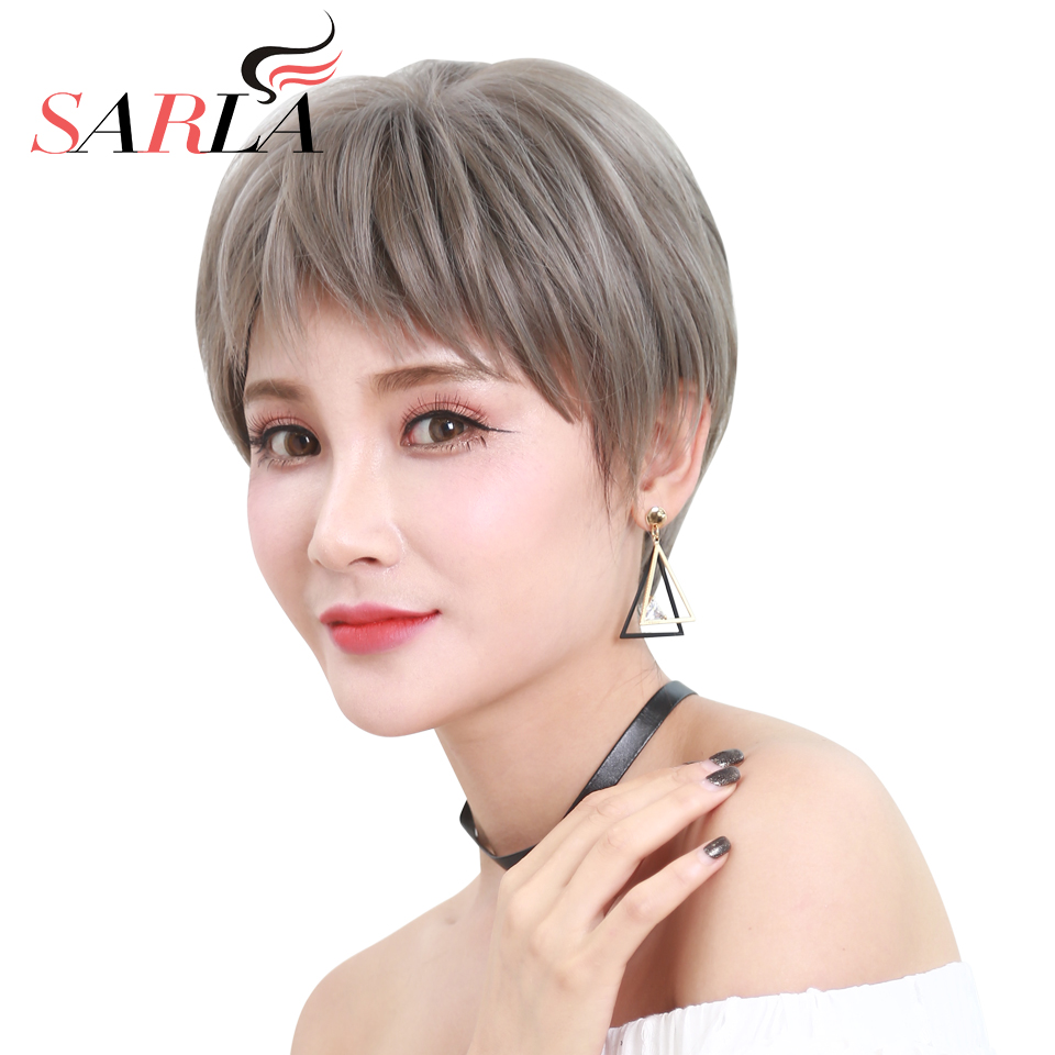 SARLA Straight Short Full Wigs Grey Pixie Cut Wig Synthetic Hair Natural Hair Wigs with Magic Bang by Dog Chewed 5 Colors