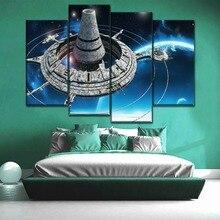 One Set Framework Or Frameless Modular Artwork 4 Panel Canvas Print Space Spacecraft Poster Modern Home Decor Wall Art Picture