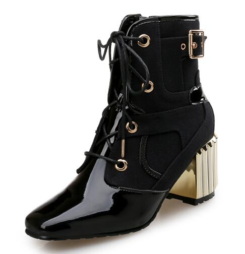 Women Full Grain Leather Lace Up Humps Lace Up Fashion Buckle High Heels Boots Short Plush Thick Warm Boots 20161220 women patent leather lace up short plush thick warm ankle boots low heels fashion round toe no plush spring autumn boots 0221