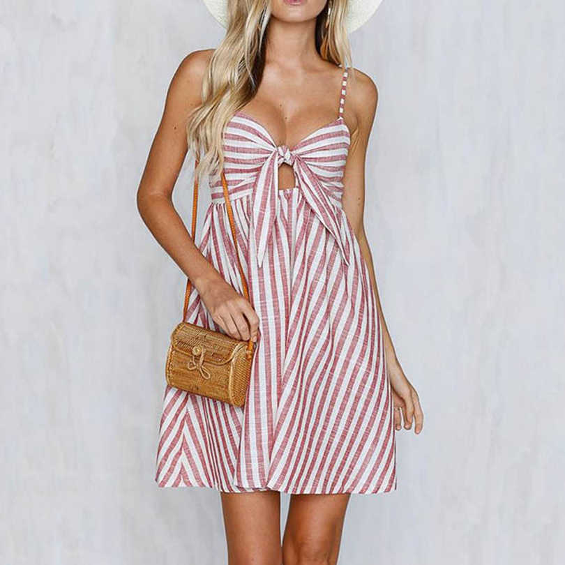 5524fbfa593 Women Summer Dress Boho Beach Sexy Strap Sleeveless Stripe Dresses Fashion Party  Sundresses Dress Vestidos Pink