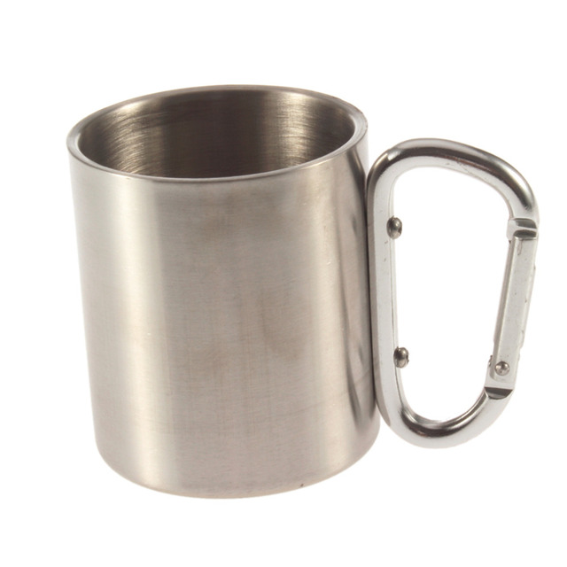 1pcs Steel Camping Cup Mug 180ml Traveling Carabiner Aluminium Hook Double Wall Stainless Dropshipping Newest free shipping