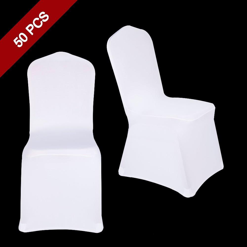 50 piezas Universal poliéster Spandex elástico decoración silla cubierta para banquete de boda Hotel cena ceremonia de celebración-in Cubiertas de sillas from Hogar y Mascotas    1