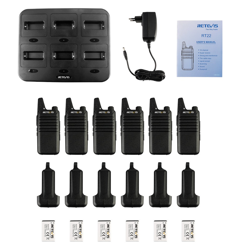 Image 5 - 6pcs Retevis RT622/RT22 Two Way Radio Mini Walkie Talkie + Six Way Charger PMR VOX Portable Walkie Talkie For Hotel/Restaurant-in Walkie Talkie from Cellphones & Telecommunications