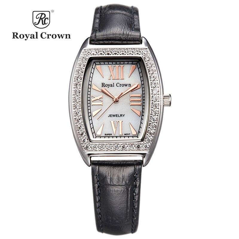 Royal Crown Luxury Jewelry Lady Women s Wrist Watch Fashion Hours Dress Colorful Bracelet Brass Rhinestone
