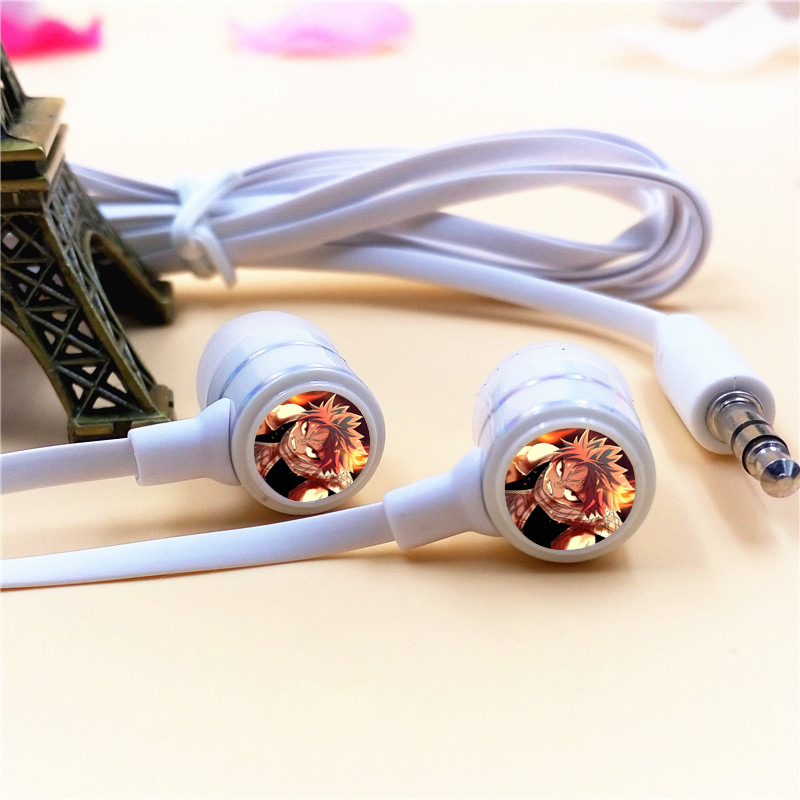Anime Fairy Tail Natsu  Dragneel In-ear Earphone 3.5mm Stereo Earbuds Microphone Phone Game Headset for Iphone Samsung Xiaomi PC mllse anime fairy tail cartoon in ear earphone portable aux wired stereo earbuds sport mic headset for iphone samsung xiaomi mp3