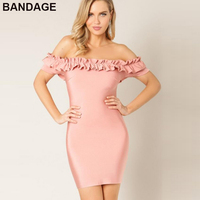 2019 Women Couture Bardot Bodycon Slim Line Homecoming Ruffle Off the Shoulder Cocktail Party Vestidos Pink Bandage Mini Dress