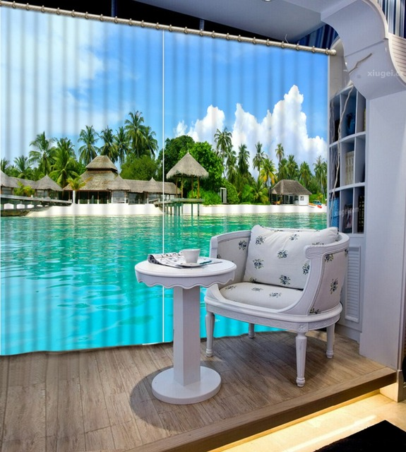 Wonderful 3d Curtains Coconut Sea View Decorate Home Drawing Room Bedroom Living Room  Window Curtain Cortinas Dormitorio