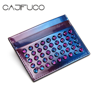 CAJIFUCO Fashion Patent Leather Porte Carte Studded Wallet For Credit Cards Spikes Rivet ID Card Holder