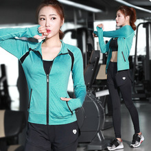 Autumn and winter new yoga clothing three – piece women Slim breathable women 's jacket trousers sports running fitness suits
