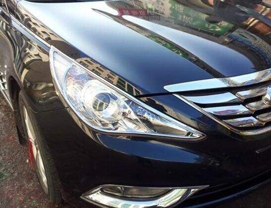 Étoile supérieure ABS 2 pièces couverture de décoration de phare avant de voiture, couvercle de phare, garniture de phare pour Hyundai Sonata YF