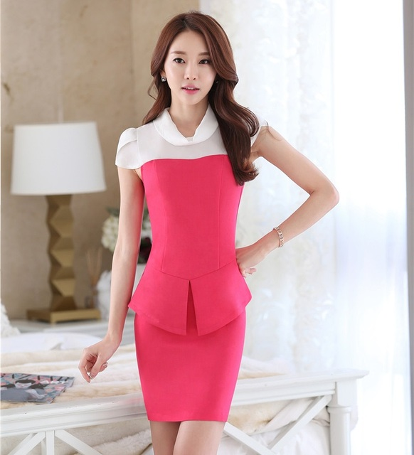 Summer Formal Women Skirt Suits Blazer and Jackets Set Short Sleeve Slim Fashion Rose Ladies Beauty Salon Office Uniform Styles
