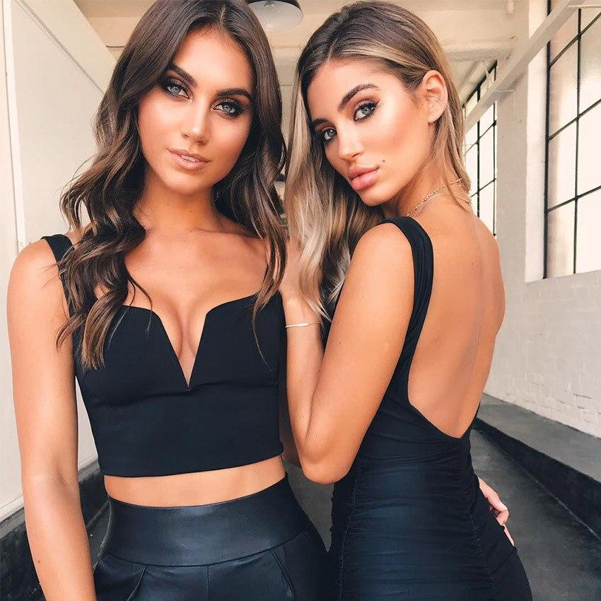 Women Bandage Tank Top Casual Backless Zipper Fly Women 2018 Sexy Sleeveless Deep V Neek Crop Top
