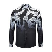 True Reveler Brand clothes Python shirts men long sleeve boa black blouse designer snake hip hop tops business dress shirts