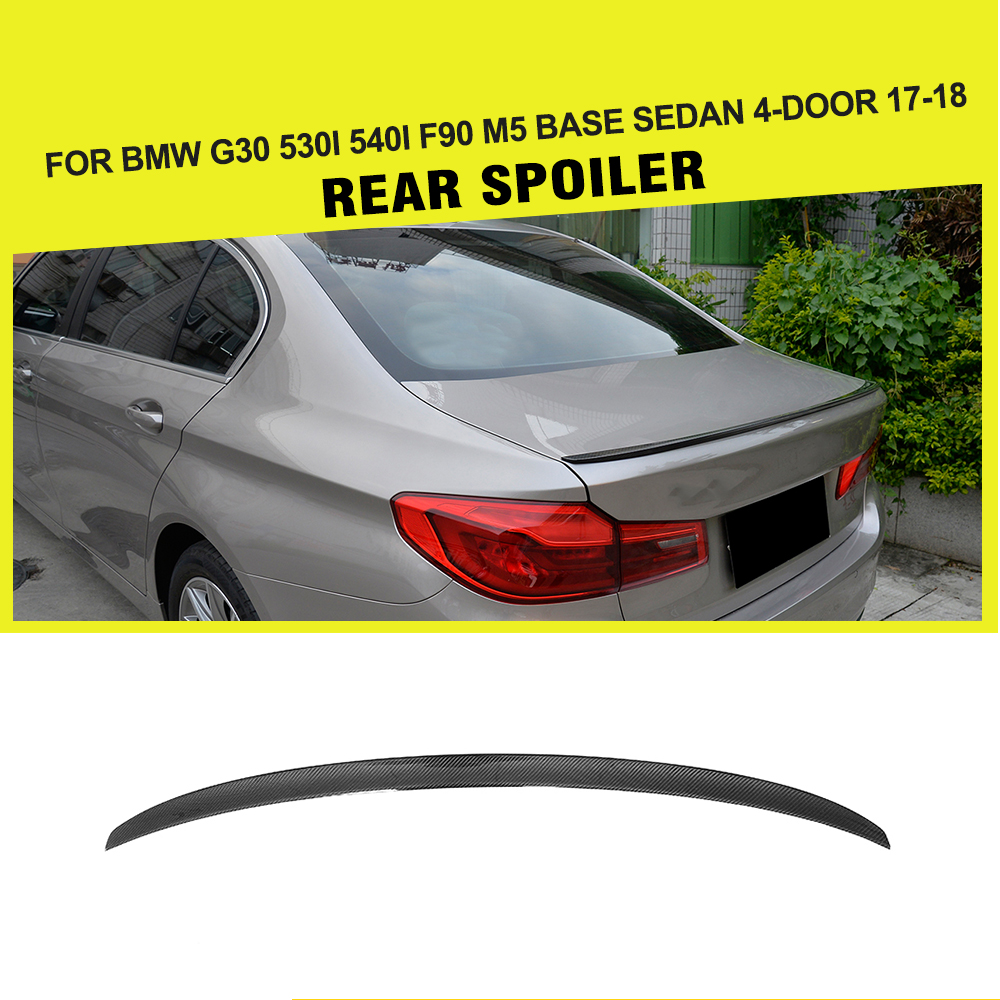 цена Carbon Fiber for G30 Rear Spoiler Custom Wing for BMW G30 Spoiler 5 Series 530i 540i F90 M5 Base Sedan 4-Door 2017 2018 G30 Wing