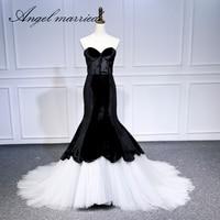 Ангел замуж вечерние платья Черный Белый платье для выпускного вечера вечерние платья Русалка Женщины платье для торжеств 2018 vestido de festa