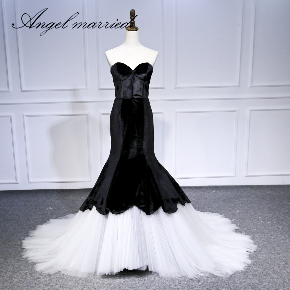 Angel Married Evening Dresses Black White Prom Dress Formal Gown
