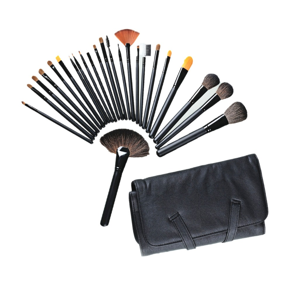 Black Makeup Brushes Set 24pcs Professional Cosmetics Eyebrow Eye Shadow Powder Lip Shadows Make Up Brush Tool Kit + Makeup Bag цена 2017