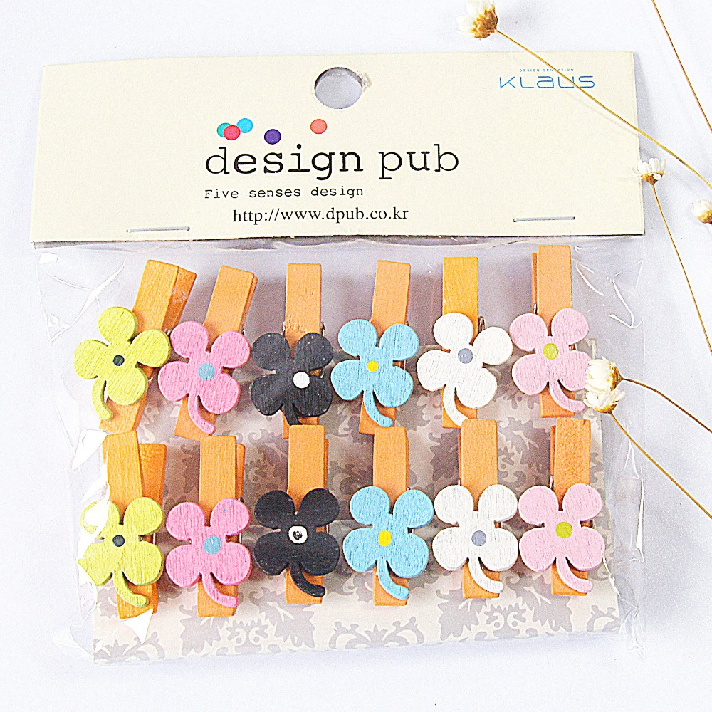 12 Pcs/lot Clover Series Wooden Clip Photo Paper Clothespin Craft Clips Party Decoration Clip With Hemp Rope
