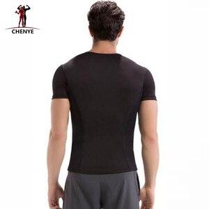 Image 2 - Männer Tops Tees 2018 Mode Schwarz T hemd Männer Neopren Kurzarm Shirt Plus Größe 5XL Neue Shapers Kompression abnehmen Shirts