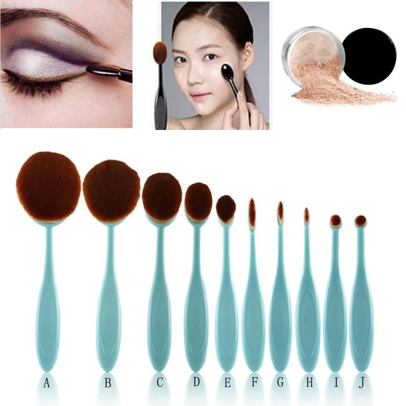 Hot Sales 10 pcs Tooth Brush Shape Oval Makeup Brush Set MULTIPURPOSE Professional Foundation Powder Brush