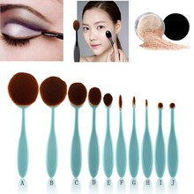 Hot Sales 10 pcs Tooth Brush Shape Oval Makeup Brush Set MULTIPURPOSE Professional Foundation Powder Brush Kit