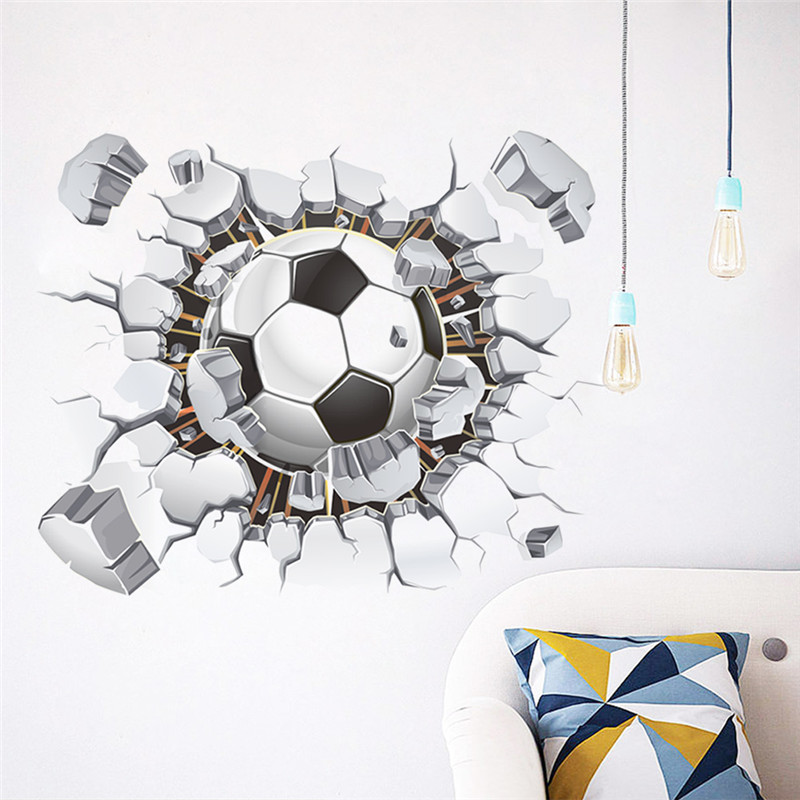 US $2 14 20% OFF|3d Football Soccer Broken Wall Hole view home decal wall  stickers print poster for kids room sport boys bedroom decorative mural-in