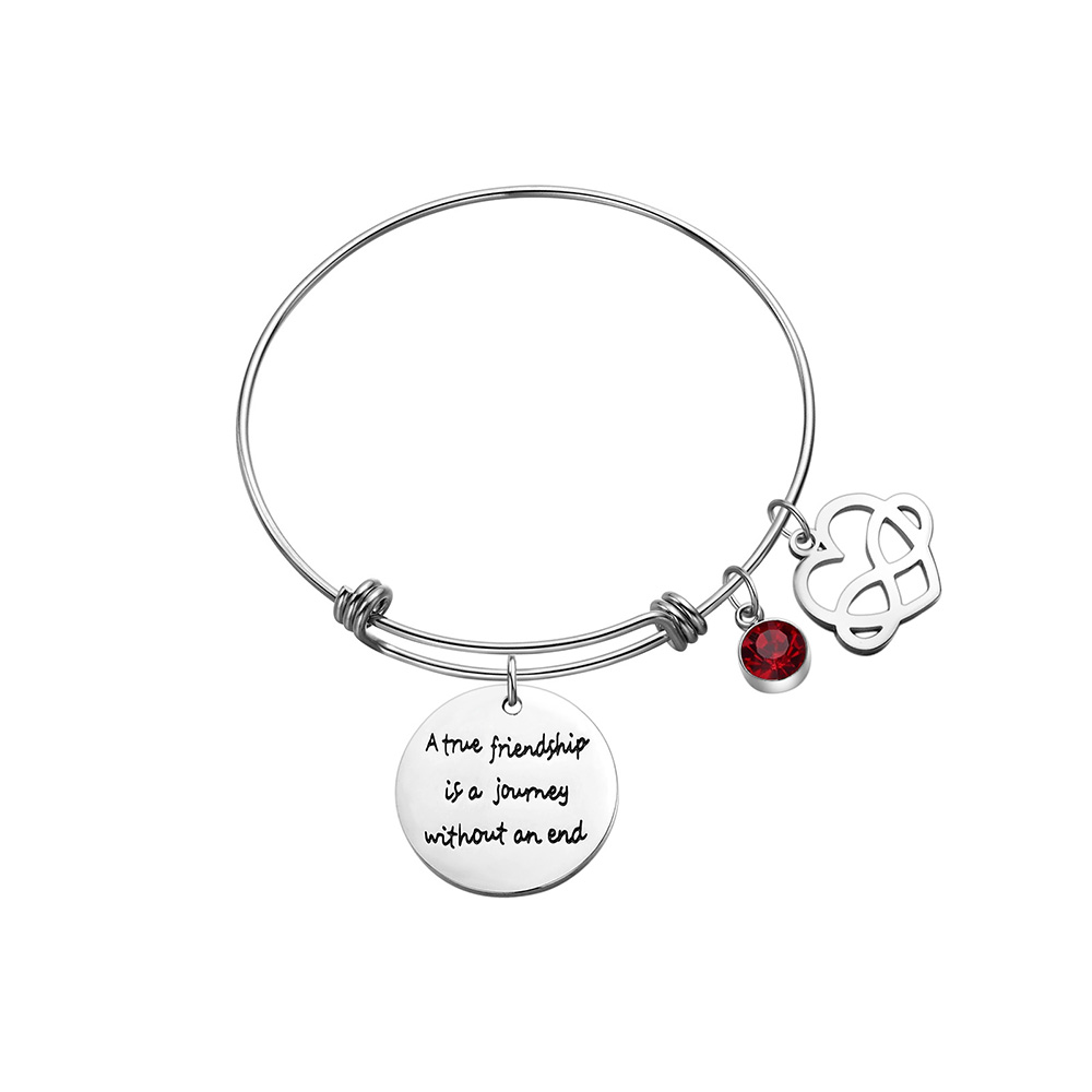 12 Birthstone Stainless Steel Charm Bracelets Engraved Friendship Bracelet Bangle Heart Best Friend Birthday Gift Women Girls