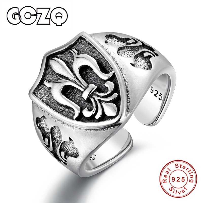 GCZQ 925 Silver Personality Retro Style Man Ring Ring Domineering Carved Gluttonous Men's 100% Sterling