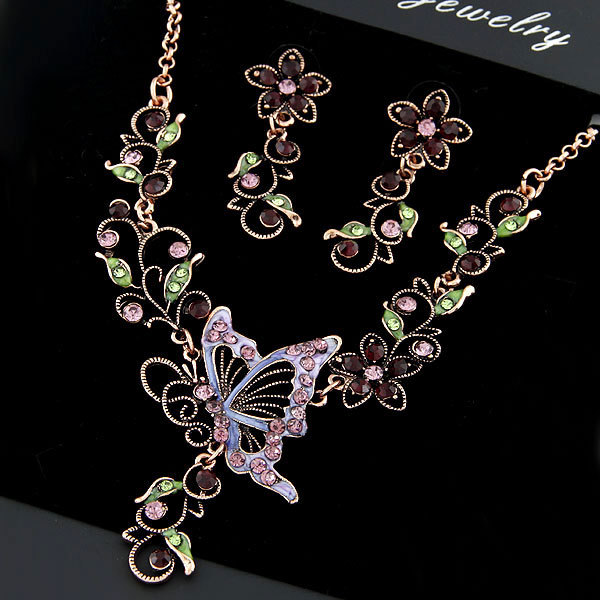 Bridesmaid GiftsEuropean Vintage Butterfly Love Flower Design CZ