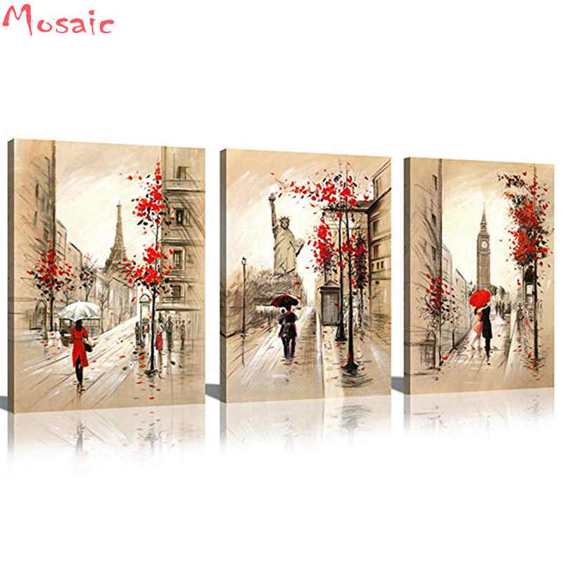 5D Diy Diamond Painting Cross Stitch 5D Diamond Mosaic Decor Full Diamond Embroidery 3pcs Romantic Paris Street Tower lovers