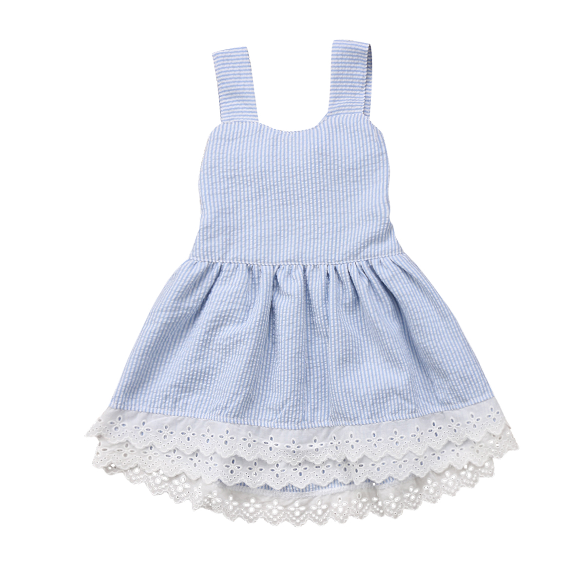 Toddler Baby Girl Dress Sleeveless Blue Summer Lace
