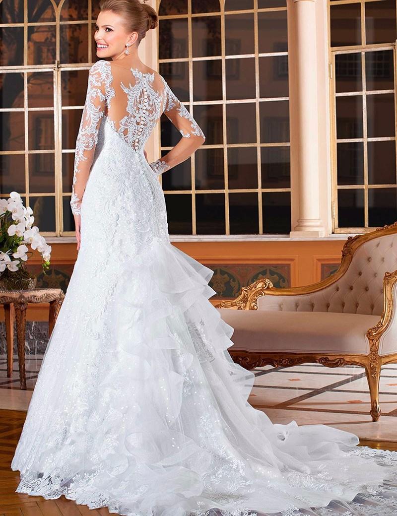 Vestido de Noiva modelo Sereia feito de Chiffon e renda