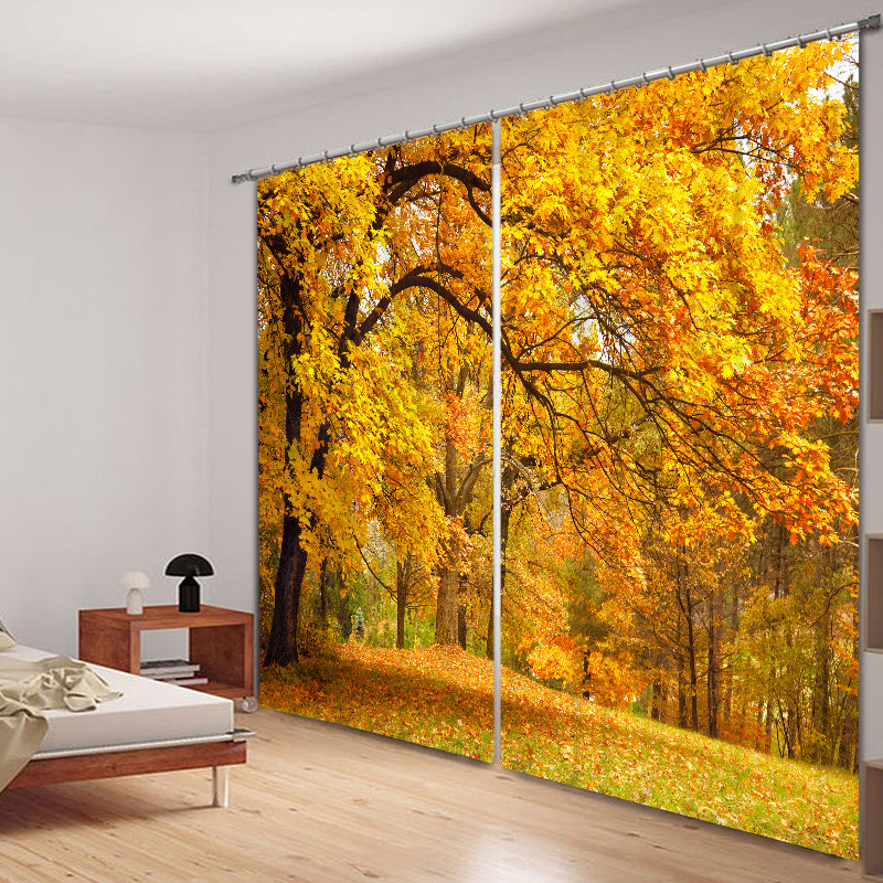 2017 Modern Luxury Autumn Leaves 3D Blackout Window Curtains For Bedding room Living room Hotel Drapes Cortinas2017 Modern Luxury Autumn Leaves 3D Blackout Window Curtains For Bedding room Living room Hotel Drapes Cortinas