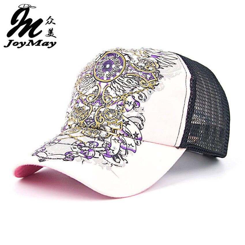 JOYMAY New Summer Shading Cap Flower Pattern Rhinestone Pierced Mesh Baseball Cap Female Cap Free Shipping B295 pierced