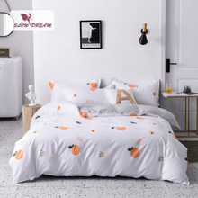 SlowDream Oranje Sprei Dubbele Dekbedovertrek Set Vlakke Plaat Kussensloop 3/4 pcs Complete Set Beddengoed Set Voor volwassen Kind Bed(China)