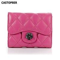 2015 New Genuine Leather Fashion 3 Fold Women Wallet European Sheepskin Leather Wallets Card Holders Purse