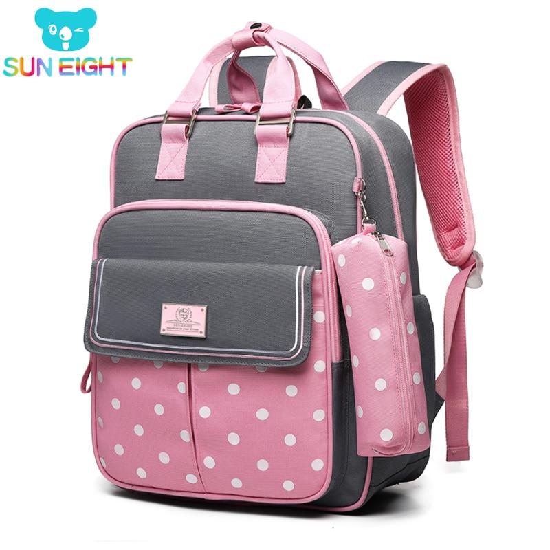 SUN EIGHT Dot Girl School Backpacks School Bags for Girls Children Backpack Kids Backpack Kids Bag  Mochila Escolar-in School Bags from Luggage & Bags