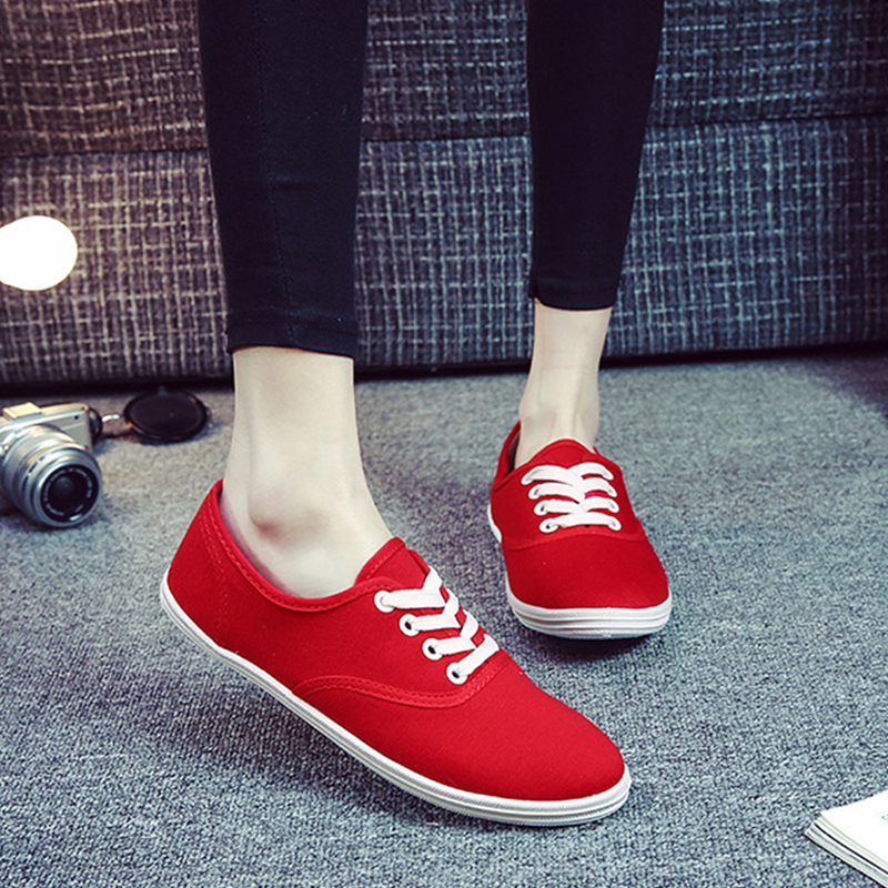Women Canvas Shoes 2018 New Lace-up Female Spring And Summer Fashion Flats Loafers Solid Breathable Ladies Casual Shoes YBT736 renben women canvas shoes 2017 fashion flats women casual white shoes breathable canvas lace up candy colors shoes 6e06