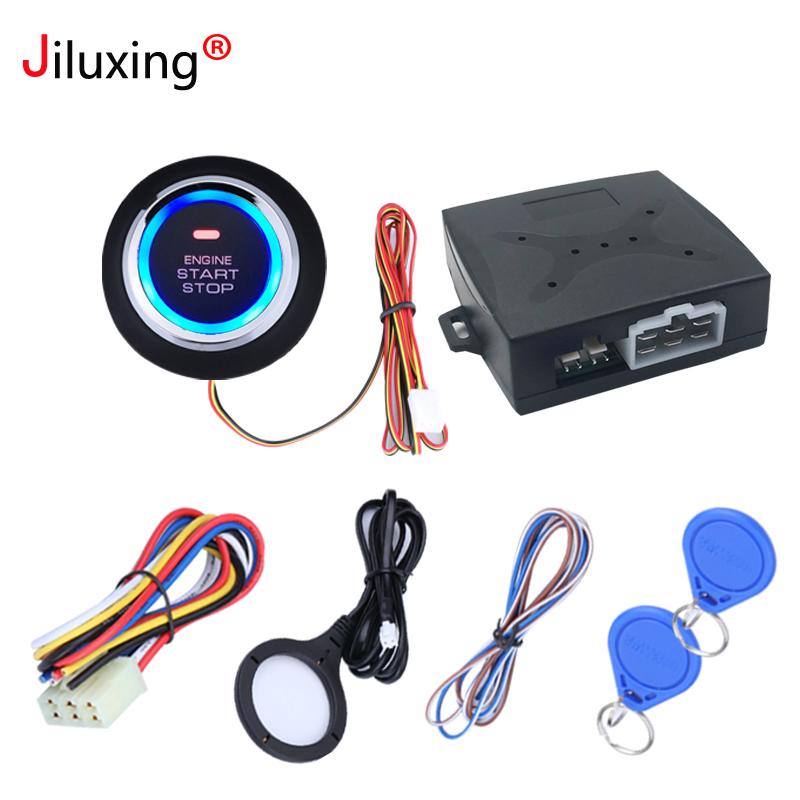 Jiluxing Car Alarm Engine Push Button Start Stop Button RFID Lock Ignition  Switch Keyless Entry System Starter Anti-theft System