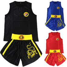 Kid Adult Embroidered Dragon Sanda Boxing Top and Shorts Muay Thai Costume for Men Women Martial Arts Performance Jersey Clothes