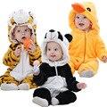 Bonito dos desenhos animados Flanela animal do estilo Macacão de Bebê Do Inverno Do Bebê meninas Roupas Unissex Bebê Recém-nascido meninos Macacão