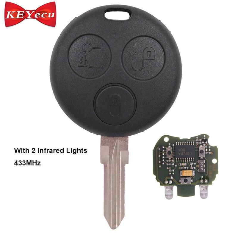 KEYECU 包茎 Fob 3 ボタン 433 mhz のためのスマートフォーフォーフォーツー市と 2 赤外線ライト  グループ上の 自動車 &バイク からの 車のキー の中 1