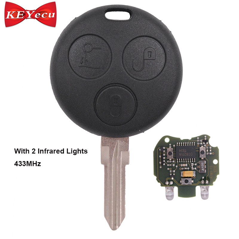 KEYECU Uncut Remote Key Fob 3 Button 433MHz for Smart Fortwo Forfour City With 2 Infrared Lights okeytech for mecerdes benz mb smart fortwo forfour city roadster auto remote key fob blade 433mhz 3 button smart card for benz