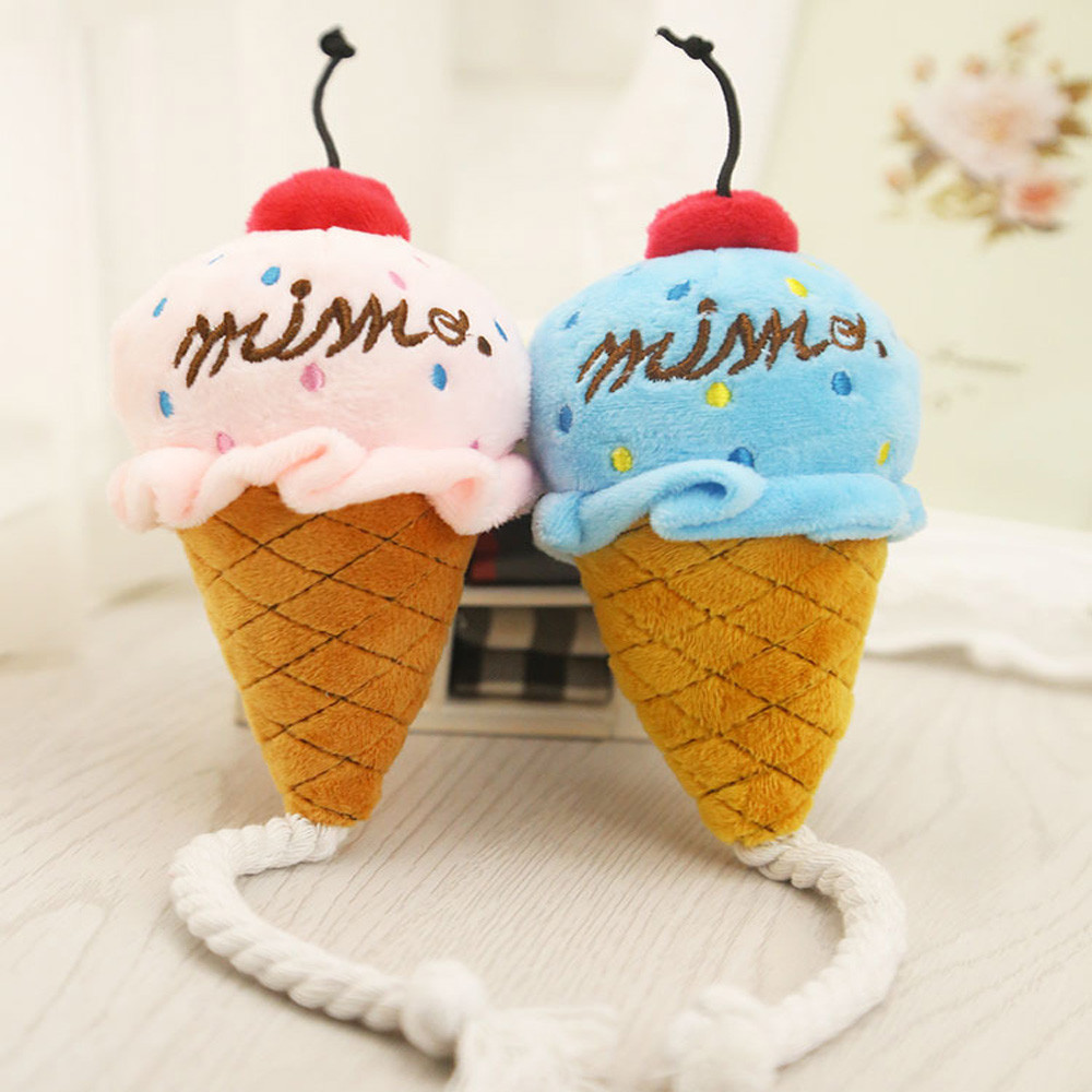 2017 Funny Gift Creative Exquisite Anxiety Stress Relief Soft Pink And Blue Cone Ice Cream Sound Toys Phone Backpack Pendant